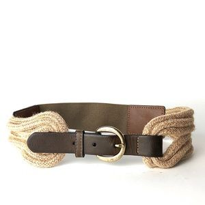 Natural cord Brown gold buckle elastic belt S/ M
